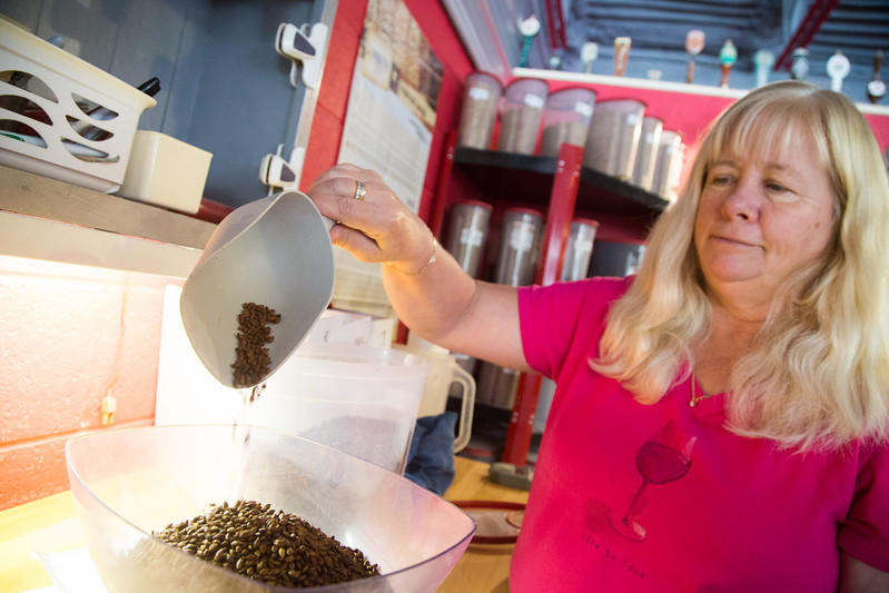 Owner Gail White measures out ingrediants at The Brew Shop located at 2916 N Pennsylvania Ave in Oklahoma City.
