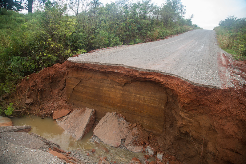 Heavy rains washed out a section of N 2950 Road in Kingfisher County, OK.