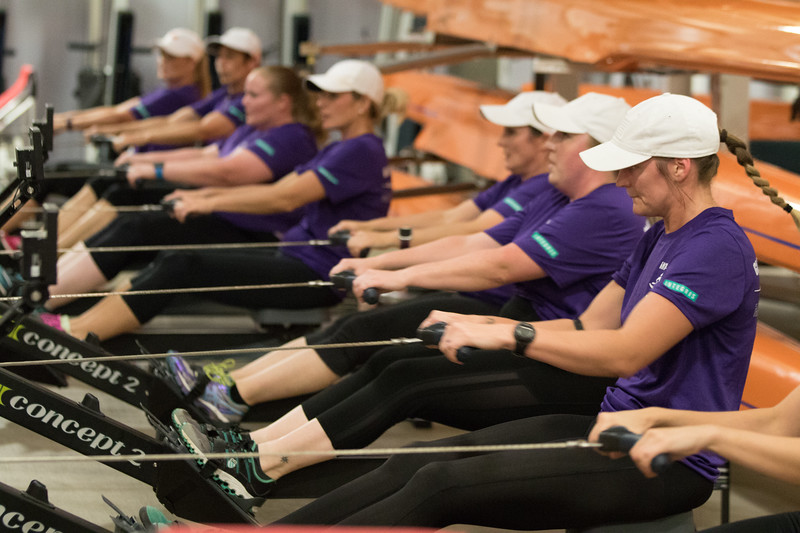 The Integris advance women's rowing team warms up at the Devon Boathouse before a finals race at the Oklahoma Boathouse District in Oklahoma City.