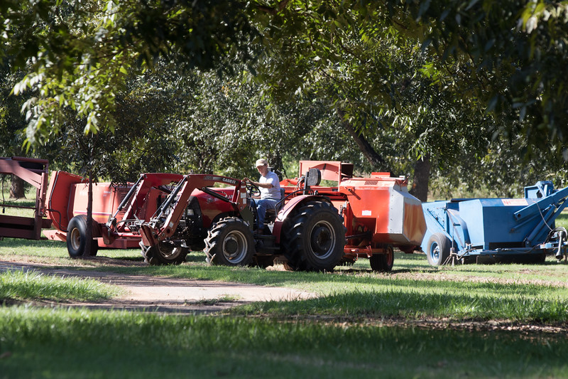 Chris Ivich prepares harvesting equipment for the upcoming pecan crop at Couch Orchard in Luther, OK.