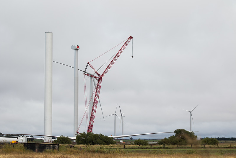 Wind turbines under construction in northeast Kinfisher County, OK.
