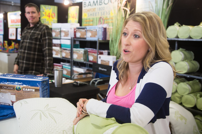 Smantha Zellmer is selling bamboo pillows and sheets along with her husband Robert at the Oklahoma State Fair in Oklahoma City.