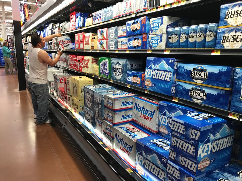 The beer isle at Wal-Mart Supercenter located at 1225 W I-35 Service Road in Edmond, OK.