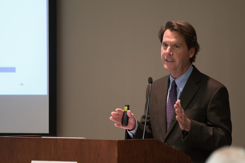 Steve Agee, Dean of Economics at the University of Central Oklahoma, speaking at a symposium held by BKD, LLP at the Oklahoma Banker's Association located at 643 NE 41st Street in Oklahoma City.