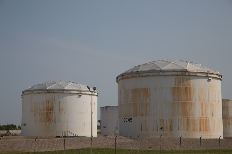 Oil tanks located at I-35 and SE 15th Street built by Matrix Services in Oklahoma City.