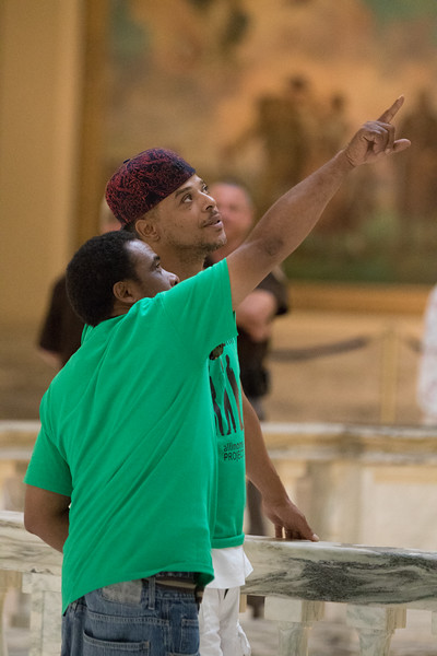 Jerome Burton and Ray Smith with the All in One Project at the Oklahoma State Capitol advoctiong for prison reform during the first day of the special session.