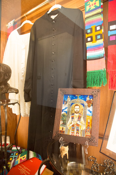 Memorabila and photos of Father Stanley Rother are on display at Holy Trinity Catholic Church in Okarche, OK.