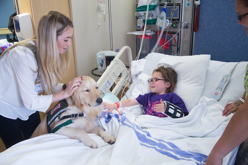 Facility dog coordinator Skyler Munday brings Targa to visit seven year old Lilyann Harrell at Children's Hospital at OU Medical Center located in Oklahoma City, OK.