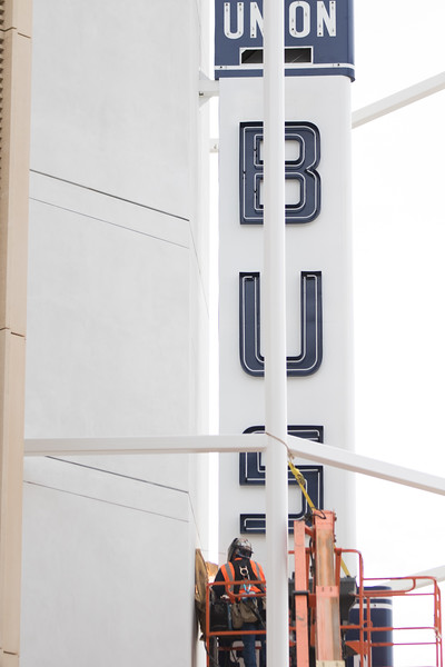 The restored Union Bus Station sign has been hung on the parking garage that was built on the site of the bus station at Sheridan and Walker Ave in Oklahoma City.