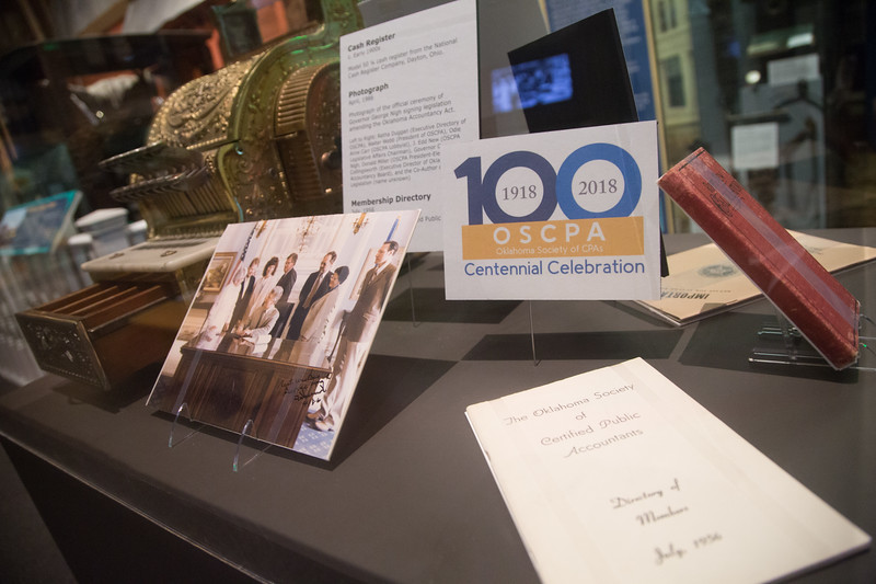 The Oklahoma Socioty of CPA's has helped create an exhibit at the Oklahoma Historical Center in recognition of the groups one hundreth anniversery.