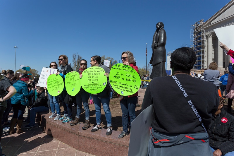 Teachers, students and supporters gathered at Oklahoma State Capitol to protest the current Education funding on Wednesday, April 4, 2018 in Oklahoma City. (Emmy Verdin/Photographer)