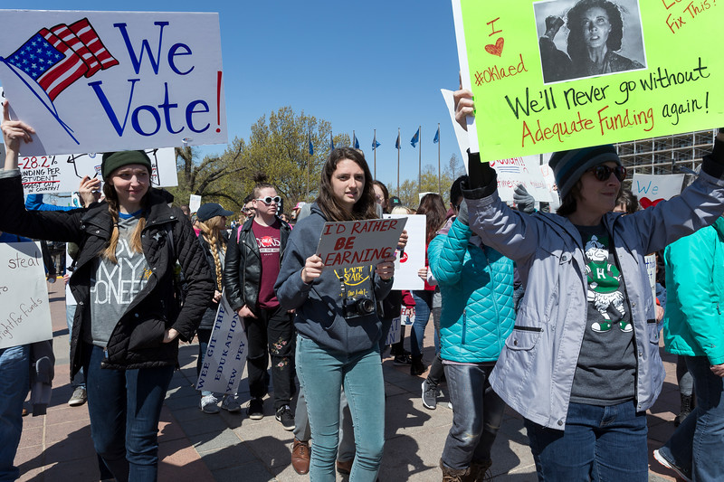 Students gathered to support teachers at Oklahoma State Capitol to protest the current Education funding on Wednesday, April 4, 2018 in Oklahoma City. (Emmy Verdin/Photographer)