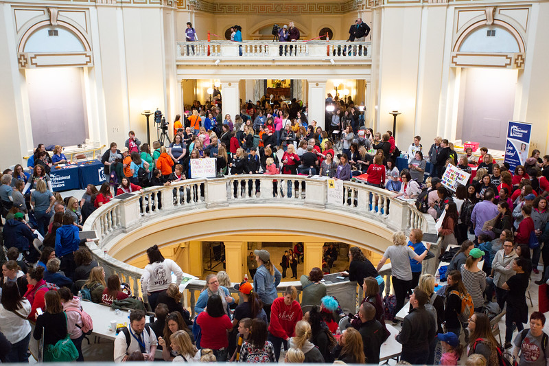 The Fire Marshal closed down entrance to the fourth and fifth floor of the Oklahoma State Capitol as they filled past capacity. during the fourth day of a protest for more education spending.