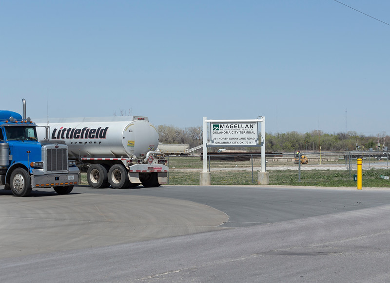 Gasoline truck pulls into the Magellan Midstream fuels terminal on Wednesday, April 4, 2018 in Oklahoma City.  (Emmy Verdin/Photographer)