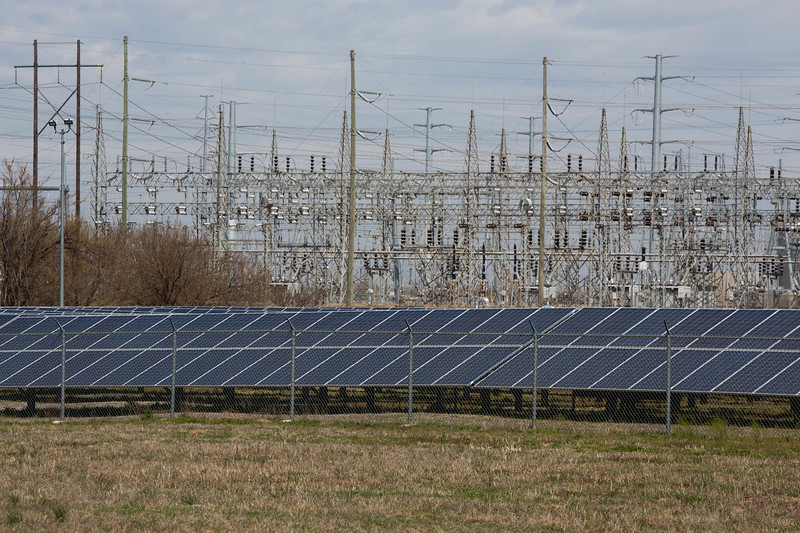 A solar farm instilation built by OGE on the southside of the Mustang Power Plant in Oklahoma CIty.