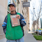 John Lawler sells the Curbside Chronical at Robinson Ave and NW 3rd Street in Oklahoma City.