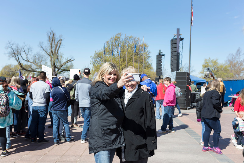 Sharon Meister, retired teacher, poses for a picture with her daughter,Janci, who is currently a teacher, at the 2018 Oklahoma Teacher Walkout on Wednesday, April 4, 2018 in Oklahoma City. (Emmy Verdin/Photographer)