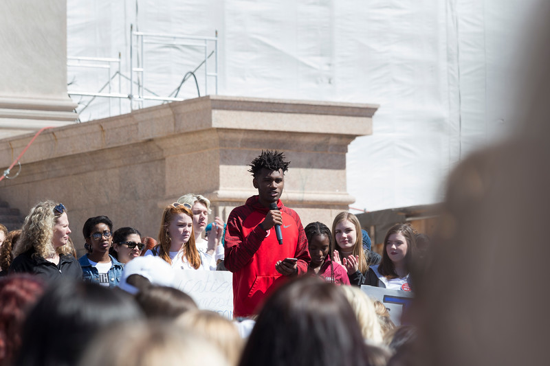 Del City student, Xavier Turner, spoke to the crowd at the 2018 Teacher Walkout Protest.  Teachers, students and supporters gathered at Oklahoma State Capitol to protest the current Education funding on Wednesday, April 4, 2018 in Oklahoma City. (Emmy Verdin/Photographer)