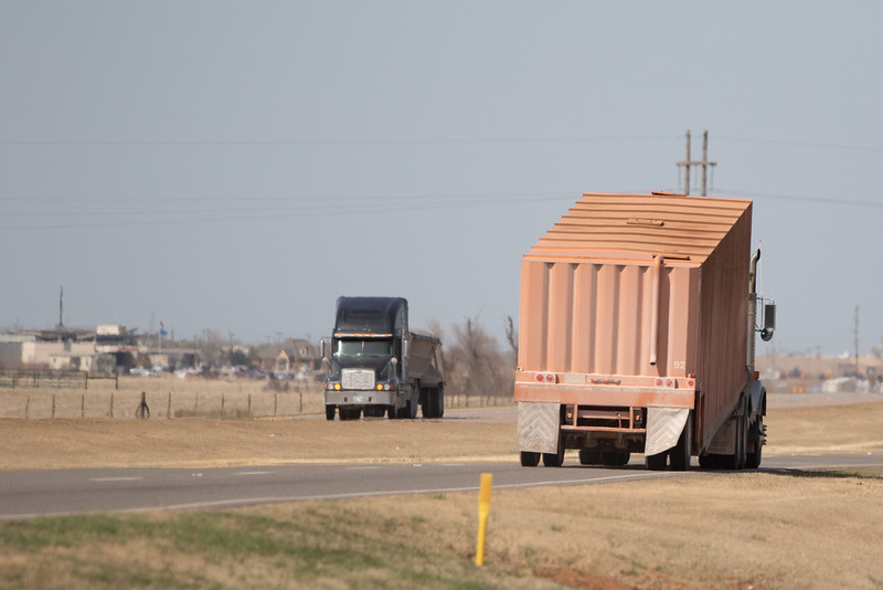 Trucks driving along Highway 81 just south of Kingfisher, OK.