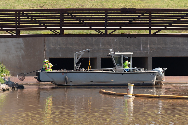 A crew cleans up garbage in the Oklahoma River in Oklahoma City.