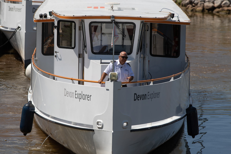 The Devon Explorer heads out to pickup its first passengers of the day on the Oklahoma River in Oklahoma City.