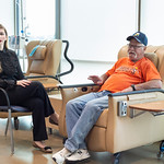 Dr. Carla Kurkjian visits with her patient Kurtis Kennedy at Mercy Hospital on Tuesday, August 14 in Oklahoma City.  (Emmy Verdin/Photographer)