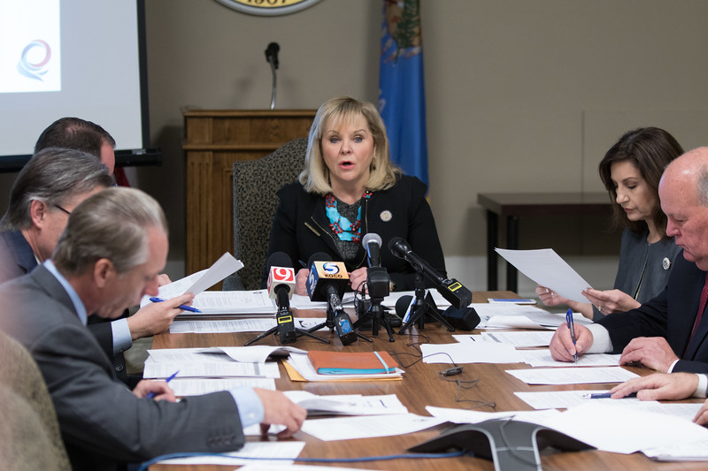 Governer Mary Fallin leads a meeting of the Oklahoma State Board of Equalization at the Oklahoma State Capitol.