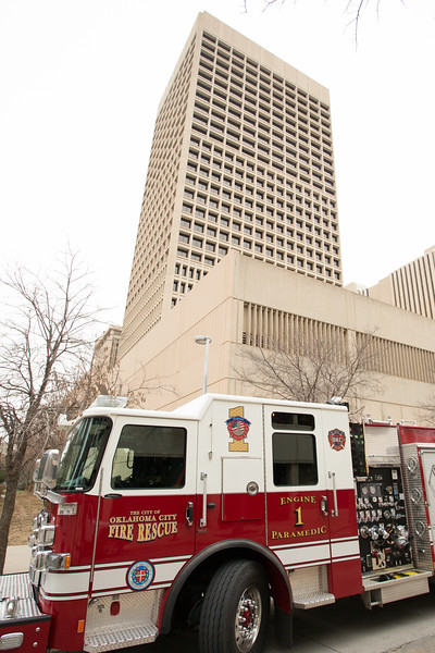A fire and rescue truck parked in fron of Sandridge Energy located at 123 Robert S Kerr Drive in Oklahoma City.