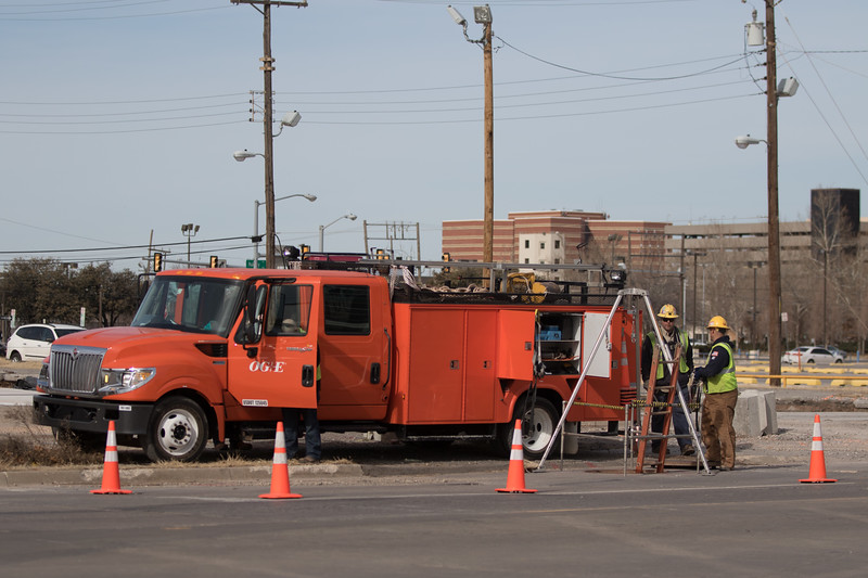 An OGE crew working under Robinson Ave just south of downtown Oklahoma City.