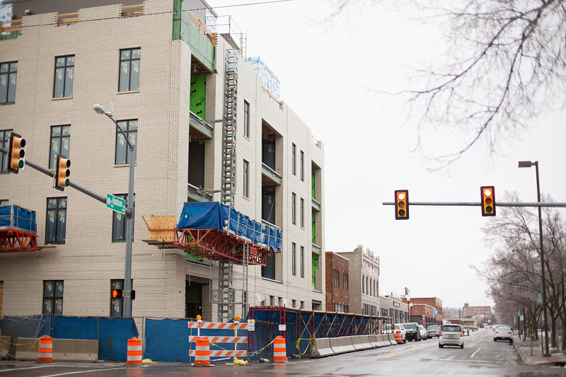 A new apartment building  is under construction at 701 N Hudson in Oklahoma City.