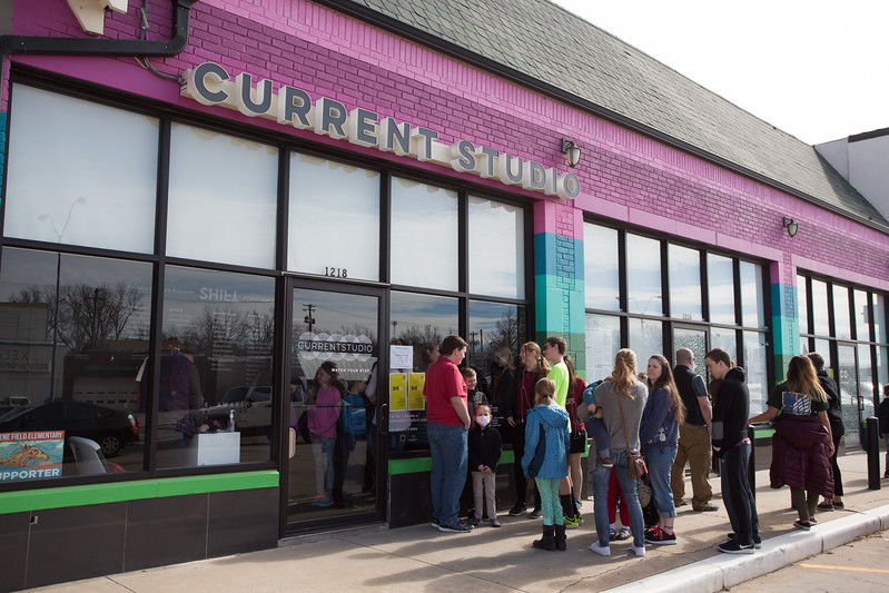 A crowd waits outside Curent Studio to see the are instalation Factory Obscura located at 1218 N Penssylvania Ave in Oklahoma City, OK.