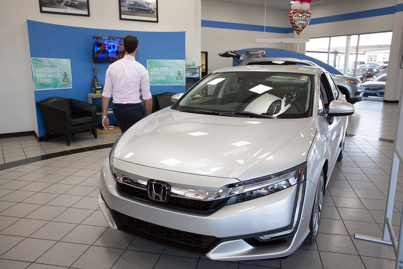 The new Honda Clarity plug in hybrid at Bob Howard Honda located at 13201 N Kelley Ave in Oklahoma City.