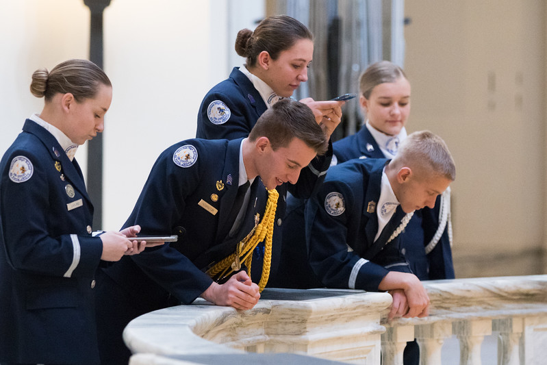 Students with Choctaw High School JROTC at the Oklahoma State Capitol before participatiing in the governer's State of the State address.