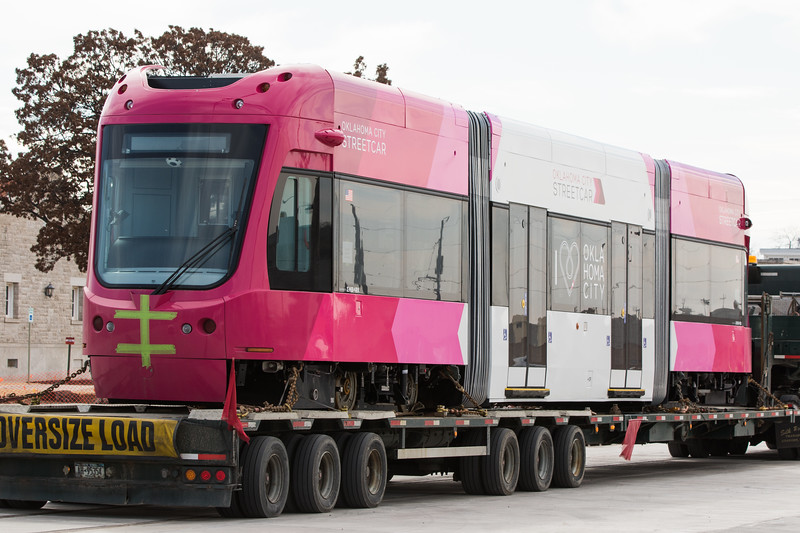 A Rosebud Pink is first streetcar  dilvered to the City of Oklahoma City.