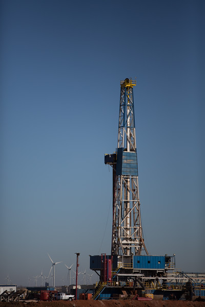 A drilling rig operated by Marathon Oil located on Highway 81 just east of Concho, OK.