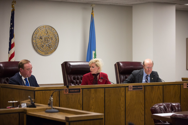 The Oklahoma Corporation Commision met to hear arguments for lowering utility rates in response to a federal tax reduction.