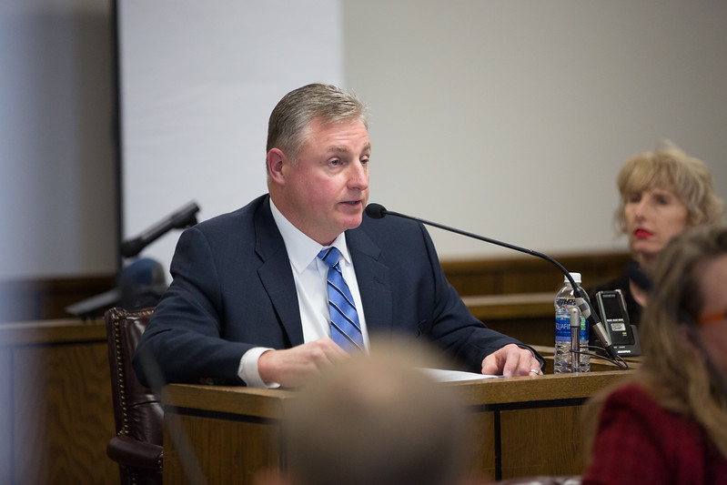 Paul Chodak III, Executive Vice President of Utilities for American Electric Power being cross examined at a hearing at the Oklahoma Corporation Commision on the merits of PSO's application for a new wind farm and transmission line.