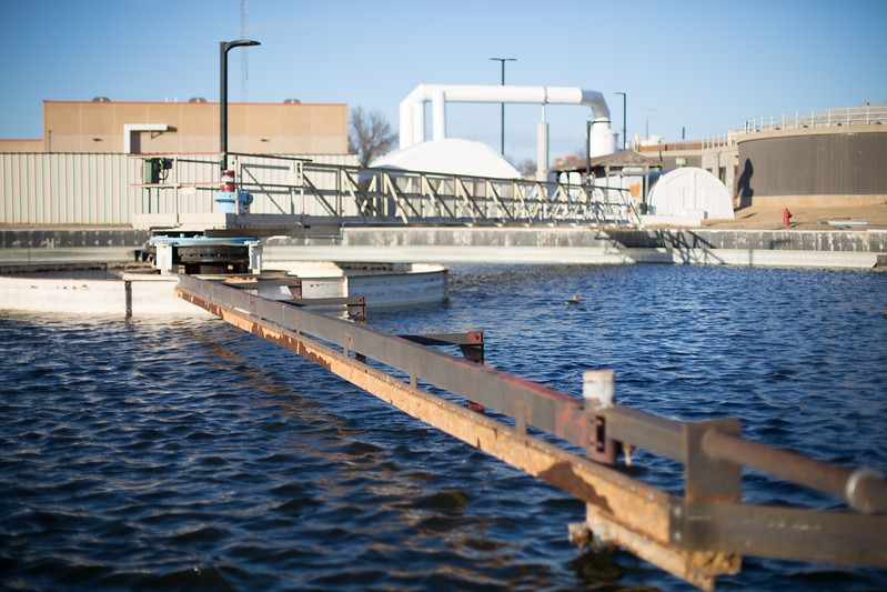 A retention tank at Norman Wastewater Treatment located at 3500 Jenkins Ave in Norman, OK.