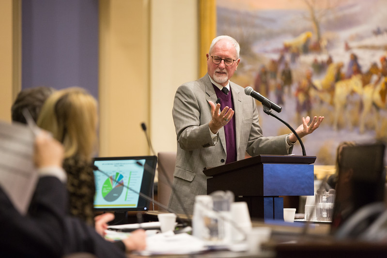Ed Lake with Oklahoma DHS speaking at a budget workshop held by the Oklahoma State Senate.