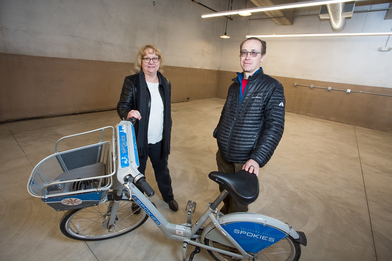 Program Manager Jeanne Smith and General Manager Joshua Vaught at the new home of Spokies Bike Share located at the Santa Fe Train Depot in Oklahoma City.