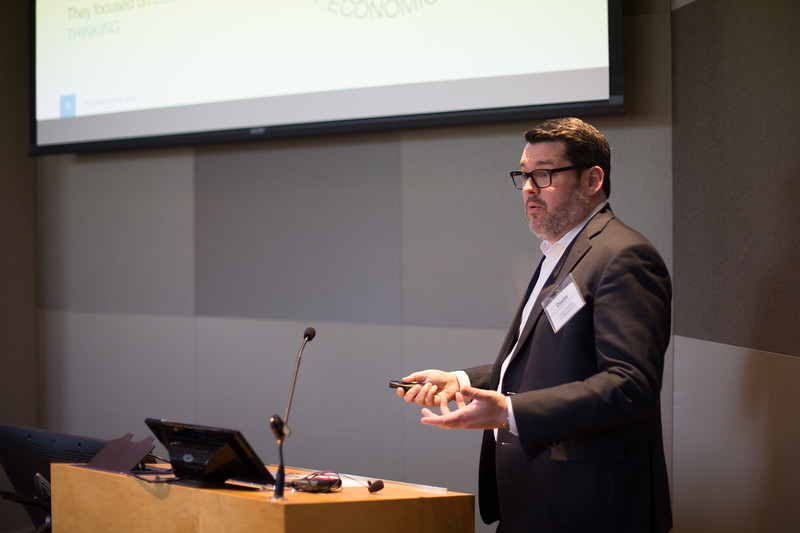 Dustin Crossfield, director of technology services within OMES Information Services division speaking at a meeting of Oklahoma Venture Forum in Oklahoma City.