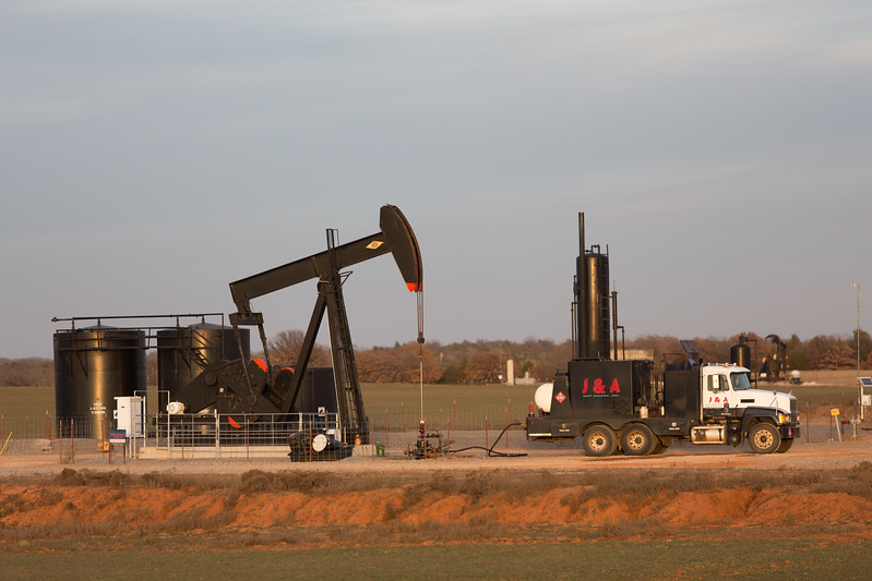 A well site owned by Charter Oak Production Co., LLC being serviced by J and L Hot Oilers in Logan County, OK.
