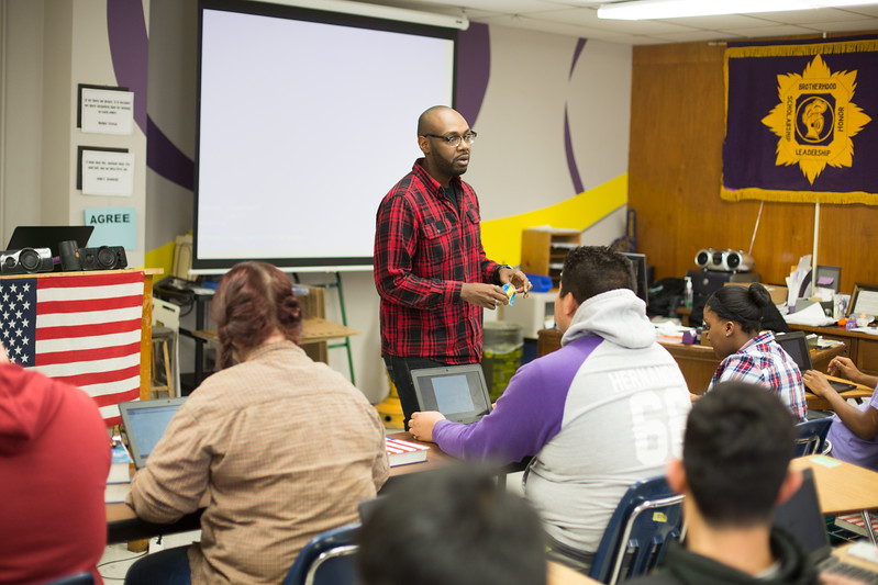 Milton Bowens teaching government at Northwest Classen High School in Oklahoma City, OK.