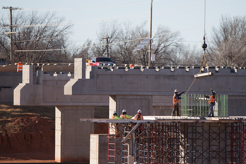 Construction of the new NW 50th Street bridge over I-235 in Oklahoma City, OK.