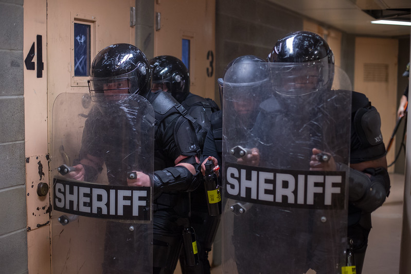 The Oklahoma County Sherrif's department ran drills focused on entering a cell block and removing uncoopertive inmates from their cells at the Oklahoma County Jail.