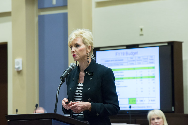 Commishiner Dana Murphy presents the upcoming budget for the Oklahoma Corporation Commision to legislators at the Oklahoma State Capitol.