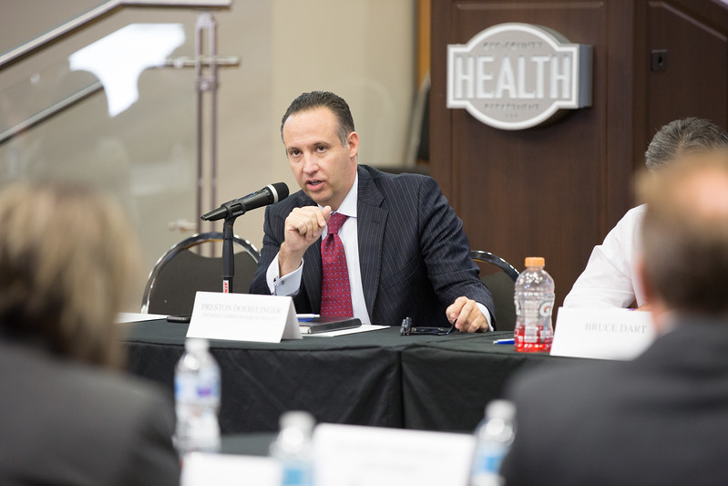 Preston Doerflinger, Interim Commisioner of Health for the State of Oklahoma, at a joint commitee meeting conviened to identify possiable structual changes at the Oklahoma Department of Health.