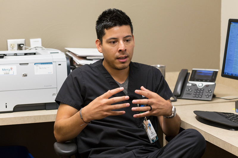 Jay Cabrera, nurse manager, discusses paternity leave at Mercy Hospital on Thursday, June 28, 2018 in Oklahoma City.  (Emmy Verdin/Photographer)