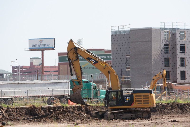 Construction of the new convention in Oklahoma City has begun along Robinson Ave south of the Chesapeak Arena.