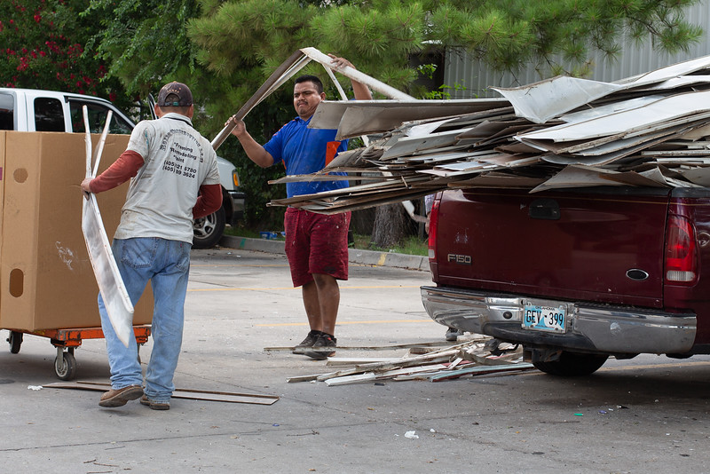 Metal being unloaded at Recyclers of Main located at 1001 E 5th Street in Oklahoma City.